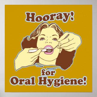 Hooray para la higiene oral retra posters