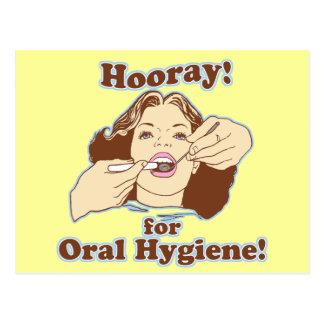 Hooray para la higiene oral tarjeta postal