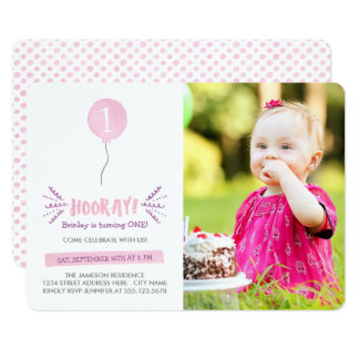 Hooray | Photo Birthday Party Invitation | Pink