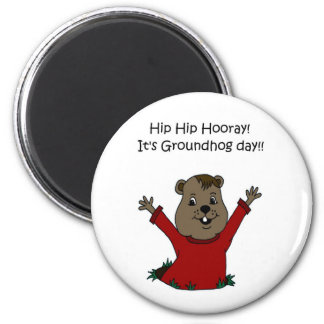 hooray su día de la marmota en blanco imán de frigorifico