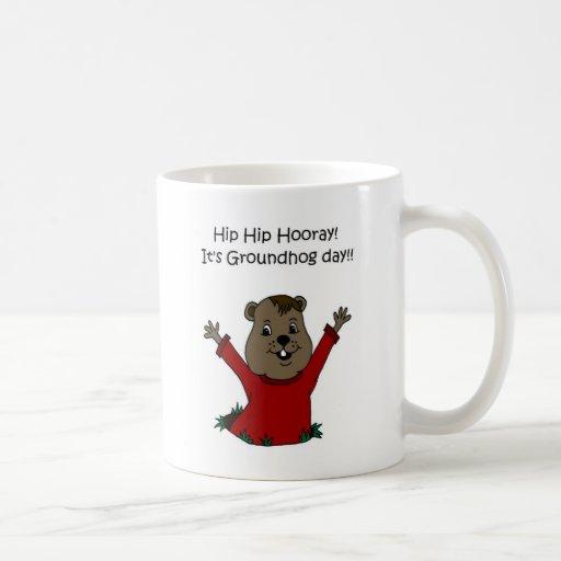 hooray su día de la marmota en blanco tazas de café