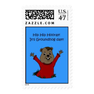 Hooray su sello del día de la marmota