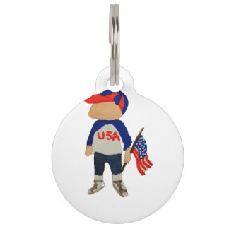Hooray USA Red, White and Blue 4th of July Toddler Pet Name Tag
