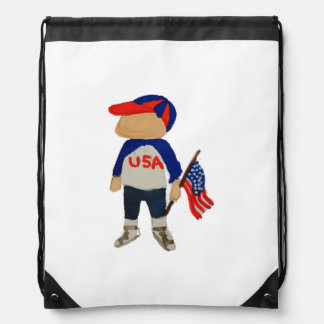 Hooray USA Red, White and Blue Toddie Time July 4 Drawstring Backpack