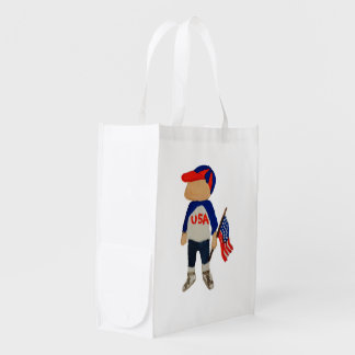 Hooray USA Red, White and Blue Toddie Time July 4 Grocery Bag