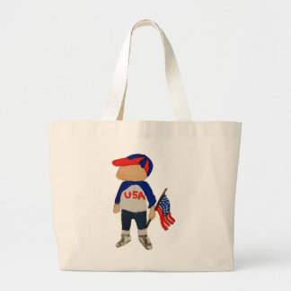 Hooray USA Red, White and Blue Toddie Time July 4 Large Tote Bag