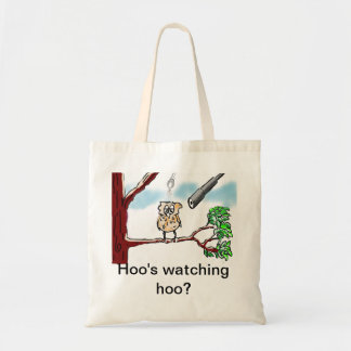 Hoo's watching hoo? budget tote bag