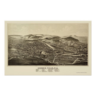 Hoosick Falls, NY Panoramic Map - 1889 Poster
