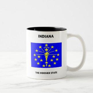 Hoosier de la bandera del estado de Indiana Tazas De Café