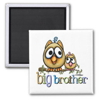 Hoot for Big Brother - Baby Sis 2 Inch Square Magnet