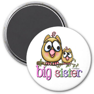 Hoot for Big Sister 3 Inch Round Magnet