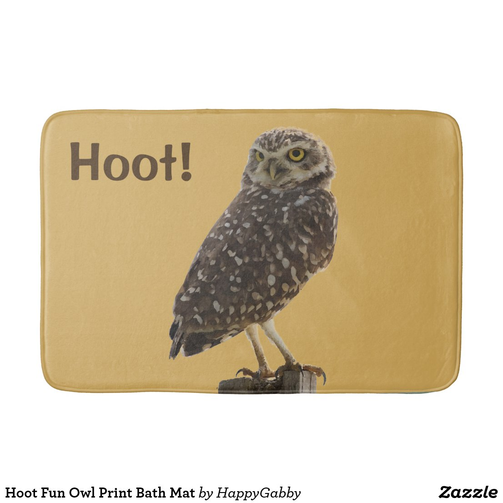 Fun Owl Print Bath Mat