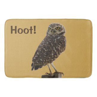 Fun Owl Print Bath Mat