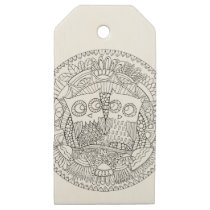 Hoot Hollow Color It In Wooden Gift Tag