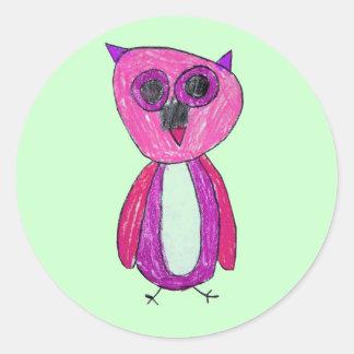 Hoot Hoot in Pink Round Sticker