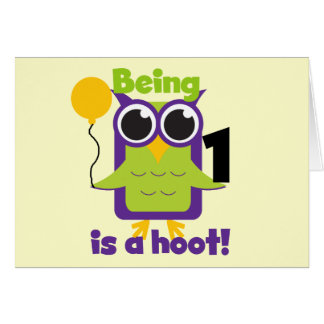 Hoot Owl 1st Birthday T-shirts and Gifts Card