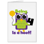 Hoot Owl 4th Birthday T-shirts and Gifts Cards
