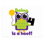 Hoot Owl 4th Birthday T-shirts and Gifts Post Cards