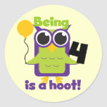 Hoot Owl 4th Birthday T-shirts and Gifts Sticker