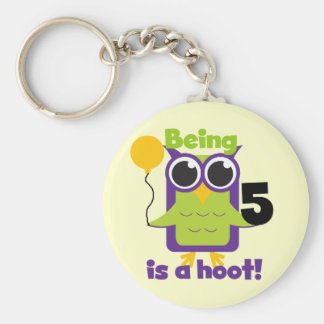 Hoot Owl 5th Birthday T-shirts and Gifts Basic Round Button Keychain