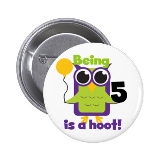 Hoot Owl 5th Birthday T-shirts and Gifts 2 Inch Round Button