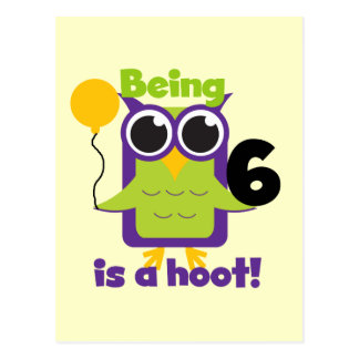 Hoot Owl 6th Birthday T-shirts and Gifts Postcard