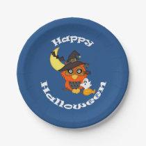 Hoot Owl Halloween Paper Plate