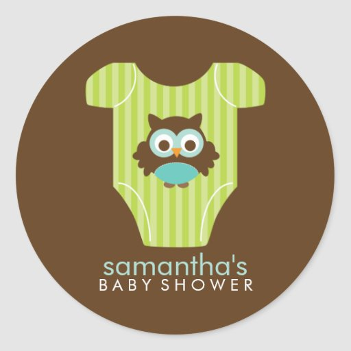 Hoot Owl Outfit Boy Baby Shower Classic Round Sticker