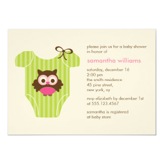 Hoot Owl Outfit Girl Baby Shower Card