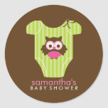 Hoot Owl Outfit Girl Baby Shower Classic Round Sticker