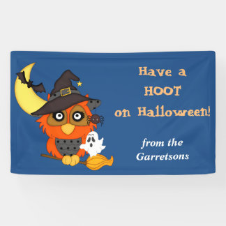 Hoot Owl Personalized Halloween Banner