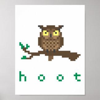 Hoot Owl Pixel Art Poster