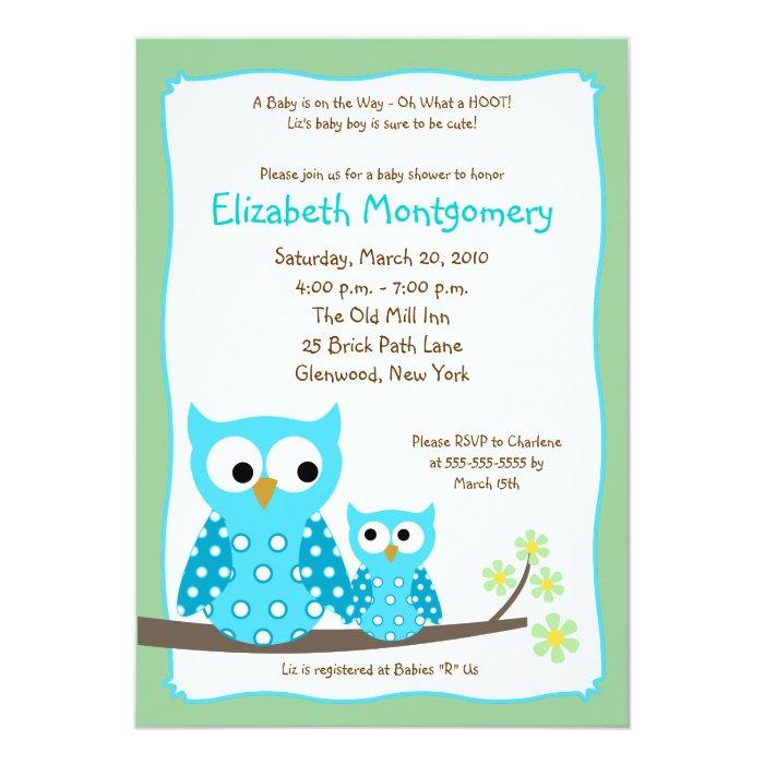 HOOT OWLS BLUE boy Baby Shower 5x7 Card