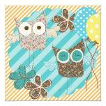 "Hoot Owls Customized Birthday Invitation 5.25"" Square Invitation Card"