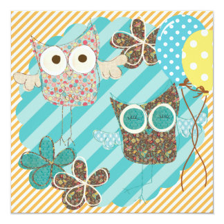 Hoot Owls Customized Birthday Invitation