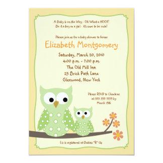 HOOT OWLS Green Neutral Baby Shower 5x7 Card