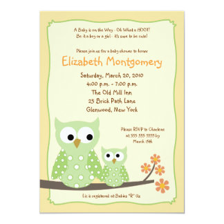 HOOT OWLS Green Neutral Baby Shower 5x7 Invites
