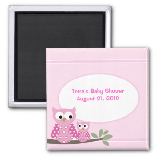 Hoot Owls PINK Baby Shower Favor Magnet