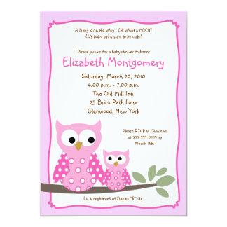 HOOT OWLS PINK Girl Baby Shower 5x7 Card