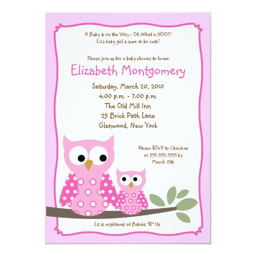 HOOT OWLS PINK Girl Baby Shower 5x7 Card