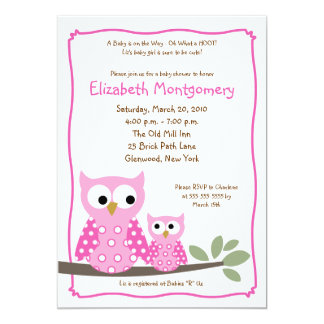 HOOT OWLS PINK Girl Baby Shower 5x7 Invitations