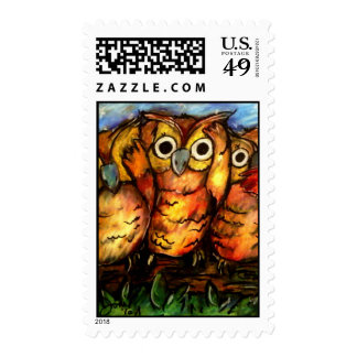 Hoot Owls Postage Stamps
