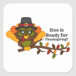 HooThanksgivingBL Square Sticker