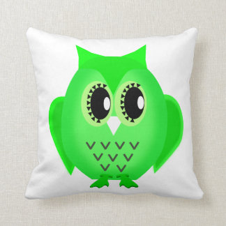 Hootie Hoot Owl Lime Green Choose Background Color Throw Pillow