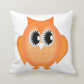Hootie Hoot Owl Orange Choose Background Color Throw Pillow