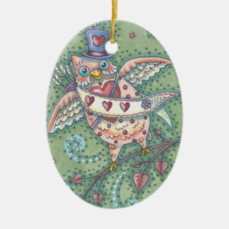HOOTS N' HEARTS OWL VALENTINE ORNAMENT Oval