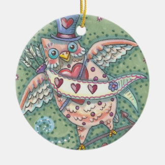 HOOTS N' HEARTS OWL VALENTINE ORNAMENT Round