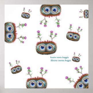 Hoots Toots Haggis. Peekaboo Poster