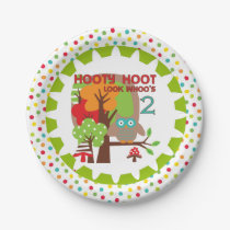 Hooty Hoot Owl 2nd Birthday Paper Plates