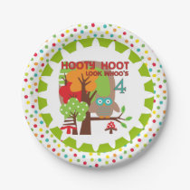 Hooty Hoot Owl 4th Birthday Paper Plates